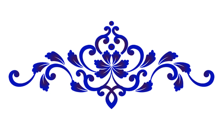 Blue and white floral decorative design element vector illustration. Stock Illustratie