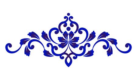Blue and white floral decorative design element vector illustration. Illustration