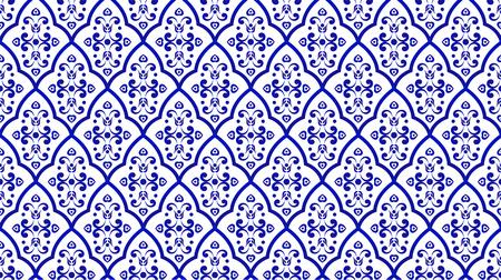 stile damascato motivo di sfondo decorativo in porcellana senza soluzione di continuità, forma moderna blu e bianca islamica per design, porcellane, ceramica, piastrelle, soffitto, struttura, muro, carta e tessuto, illustrazione vettoriale