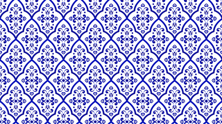 seamless porcelain decorative background pattern damask style, Islamic blue and white modern shape for design, chinaware, ceramic, tile, ceiling, texture, wall, paper and fabric, vector illustration