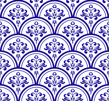 Abstract floral ornament backdrop damask style, seamless blue and white royal pattern, baroque background for design, porcelain, ceramic, tile, texture, wall, paper, fabric, vector illustration