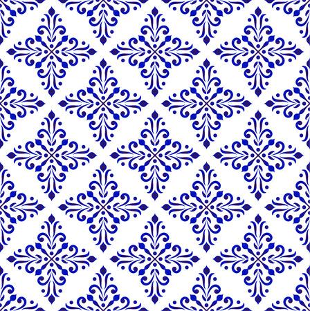 blaue und weiße klassische Tapete, keramische nahtlose Designvektorillustration, dekorativer Blumenhintergrund, Porzellandamastmuster Vektorgrafik