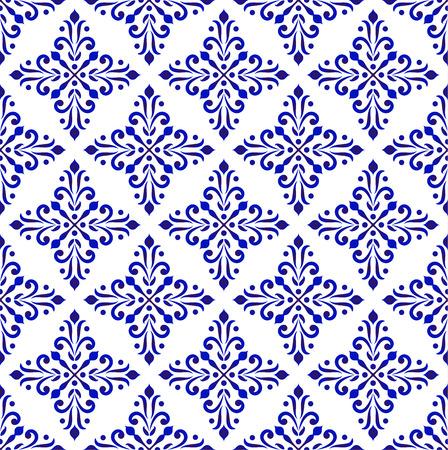 blue and white classic wallpaper, ceramic seamless design vector illustration, decorative floral background, porcelain damask pattern