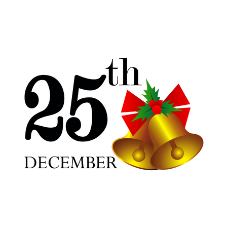 Christmas Day concept, 25th December and bells, Merry Christmas and Happy new year sign and symbol, vector illustration