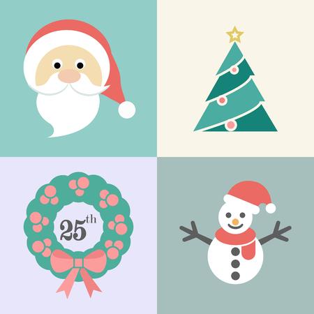 Christmas icon set, Santa, Xmas tree, Christmas wreath and snow man, vector illustration