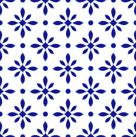 porcelain pattern, abstract flower indigo background, tile design, cute ceramic blue and white floral seamless decor vector illustration
