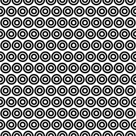 black and white geometric circle seamless pattern, vintage modern background vector illustration