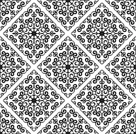 vintage damask pattern, baroque seamless background, black and white floral decorative wallpaper decor vector illustration