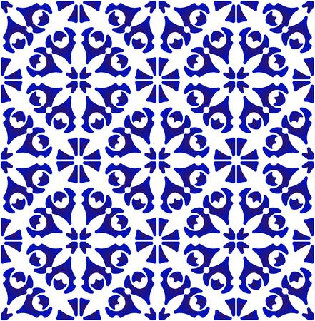 porcelain pattern, abstract flower indigo tile background design, cute ceramic blue and white floral seamless decor vector illustration Illusztráció
