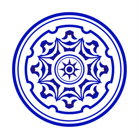 Mandala modern pattern, Circular blue and white pattern, Decorative art frame, Abstract vector round, porcelain design vector illustration
