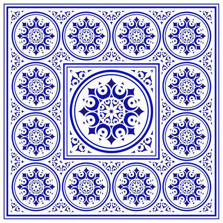 tile pattern, Porcelain decorative carpet background, blue and white floral decor vector illustration, Big ceramic element in center is frame, beautiful ceiling backdrop damask and baroque style