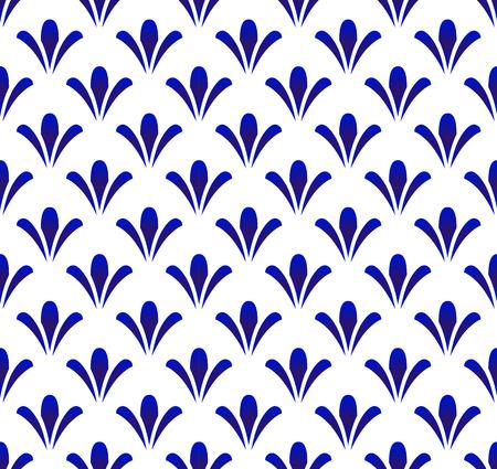 ceramic Thai pattern, cute flower blue and white background, porcelain seamless modern backdrop, Chinaware design, pottery decor vector illustration