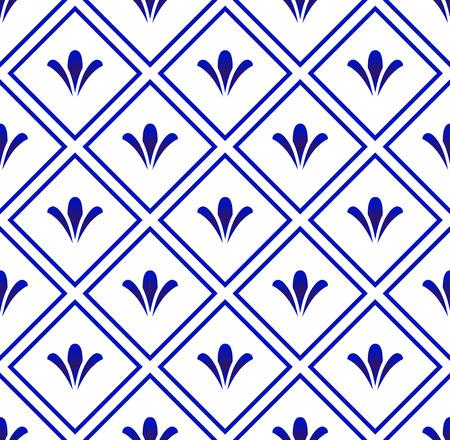 ceramic pattern blue and white, porcelain seamless modern background, Chinaware design, pottery decor vector illustration
