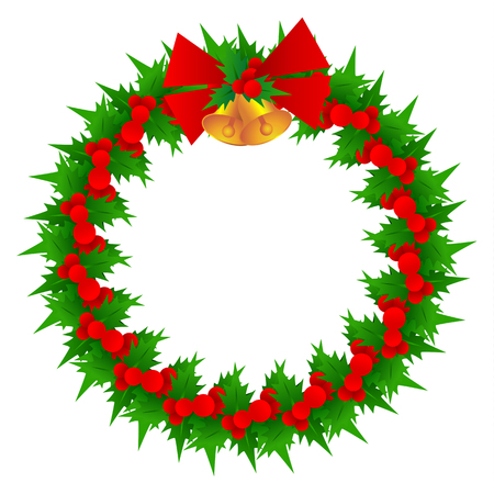 christmas wreath and bell vector