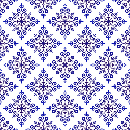 blue and white baroque and damask pattern, Seamless floral decorative background, vintage elements for design floor and wall, Abstract Orient wallpaper decor vector illustration Ilustração