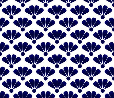 Blue and white flower pattern indigo style, cute porcelain flora seamless background, beautiful ceramic tile design, vector illustration