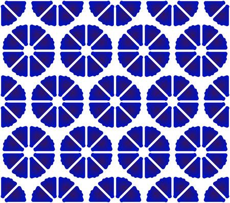 porcelain pattern, abstract flower blue and white background design, cute ceramic modern seamless decor vector illustration Illusztráció
