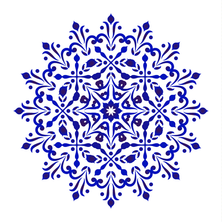 Round floral pattern, Circular decorative ornament, blue and white Mandala, ceramic background design, porcelain pottery flower decor vector illustration