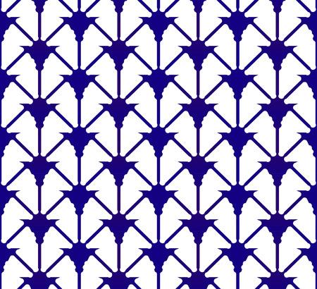 indigo pattern, ceramic modern blue and white background design, seamless porcelain backdrop decor vector illustration