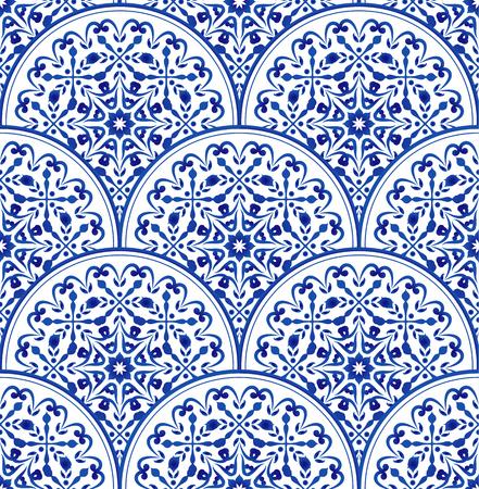 blue and white Chinese pattern, porcelain decorative indigo background, beautiful ceramic design, pottery decor vector illustration Ilustração