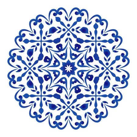 floral round pattern, Circular decorative ornament, blue and white Mandala, ceramic background design, porcelain pottery flower decor vector illustration Illustration