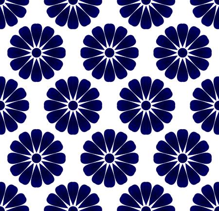 Blue and white flower pattern indigo style, porcelain flora seamless background, beautiful ceramic tile design, vector illustration