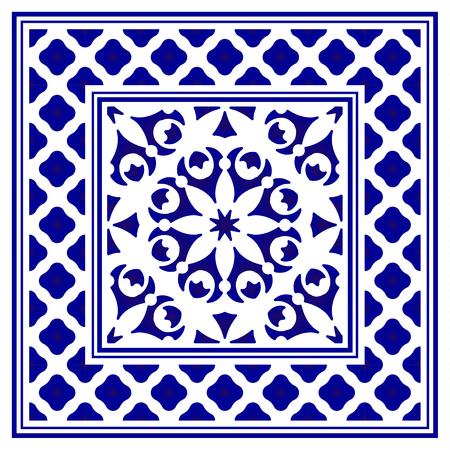 tile pattern, Porcelain decorative carpet background, blue and white floral decor vector illustration, Big ceramic element in center is frame, beautiful backdrop design