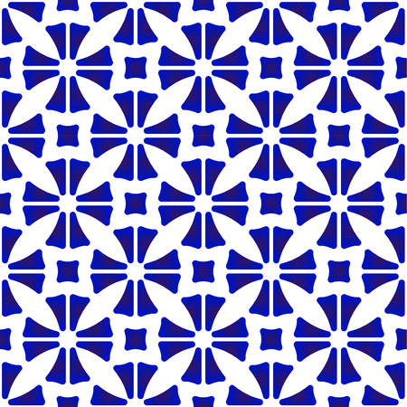 porcelain pattern, abstract flower tile background design, cute ceramic blue and white modern seamless decor vector illustration