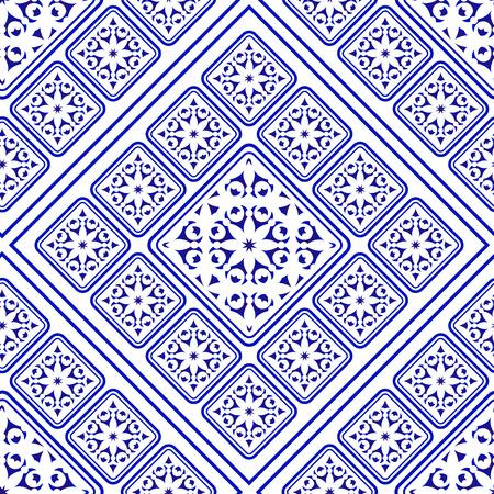 tile pattern decorative, ceramic blue and white abstract flower seamless background design, beautiful porcelain wallpaper decor vector illustration Illusztráció