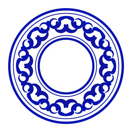 blue ornamental round, Decorative art frame, Abstract vector ornament border ceramic design, porcelain pattern template, China blue and white border, vector illustration Illusztráció
