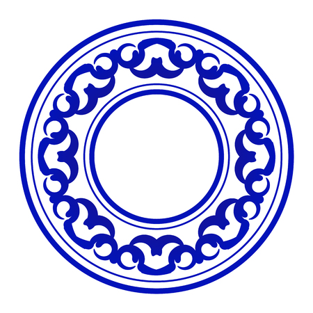 blue ornamental round, Decorative art frame, Abstract vector ornament border ceramic design, porcelain pattern template, China blue and white border, vector illustration Illustration