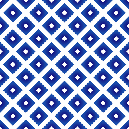ceramic Thai pattern blue and white, cute porcelain seamless square modern background, Chinaware geometric design, pottery decor vector illustration