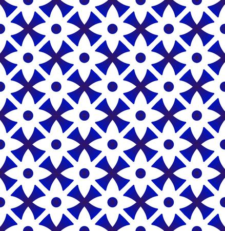 Patrón floral de porcelana estilo Tailandia, fondo transparente índigo flor abstracta, ilustración de vector de diseño de azulejo azul y blanco de cerámica lindo