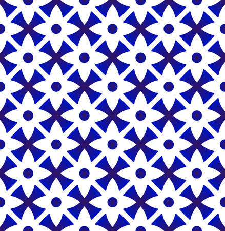 porcelain floral pattern Thailand style, abstract flower indigo seamless background, cute ceramic blue and white tile design vector illustration