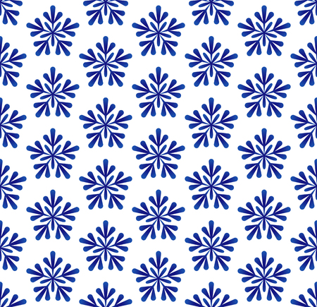 snow pattern, blue and white floral seamless design, porcelain decorative ceramic background, Christmas wallpaper backdrop decor vector illustration
