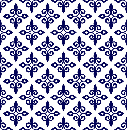 vintage indigo Thai pattern, baroque seamless background, blue and white floral decorative wallpaper decor vector illustration