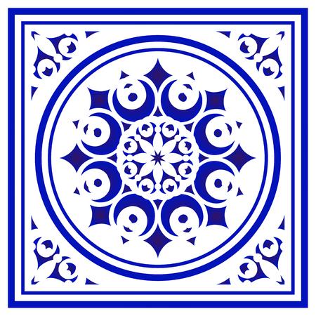 tile pattern, Porcelain decorative background design, blue and white floral decor vector illustration, Big ceramic element in center is frame, beautiful ceiling backdrop damask and baroque style
