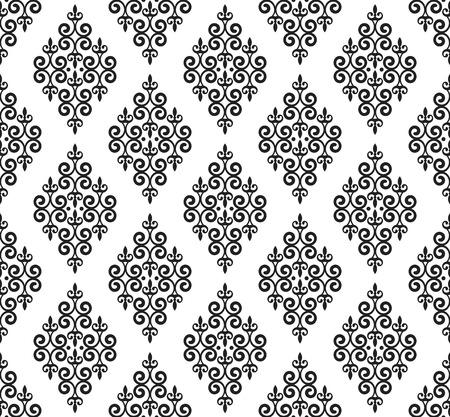 vintage damask pattern, baroque seamless background, floral decorative wallpaper decor vector illustration