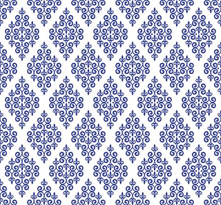 blue and white classic wallpaper, ceramic seamless design vector illustration, decorative floral background, porcelain damask pattern