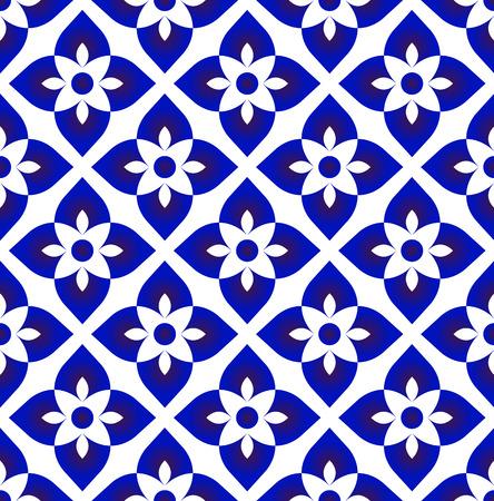 ceramic blue and white simple art decor vector, Chinaware design, blue flower pattern, porcelain background