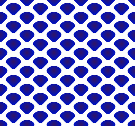 blue and white Japan and Chinese seamless pattern with scale, porcelain, chinaware, ceramic, tile, texture, wall, paper silk and fabric, vector illustration, simple indigo wave background Illustration