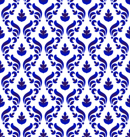 Abstract floral ornament backdrop baroque style, seamless blue and white royal damask pattern, indigo background for design, porcelain, ceramic, tile, texture, wall, paper, fabric, vector illustration Illustration