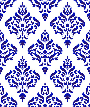 Floral ornament on watercolor backdrop damask and baroque style, blue and white ceramic tile pattern seamless vector illustration, cute porcelain background design
