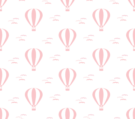cute baby pink seamless pastel pattern with hot air balloon, vector illustration