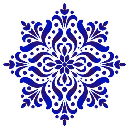 florales rundes Muster, kreisförmige dekorative Keramikverzierung, blaues und weißes Mandala, Porzellanhintergrunddesign, Keramikblumendekor-Vektorillustration