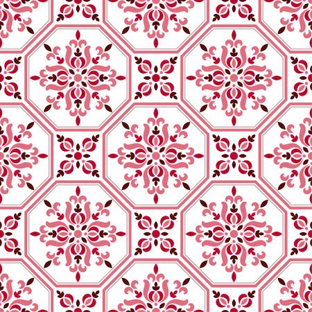 tile pattern, colorful decorative floral seamless background, beautiful ceramic wallpaper decor vector illustration