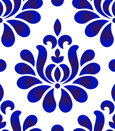 Abstract flower decorative ornament backdrop damask style, seamless blue and white floral pattern, baroque background for design, porcelain, ceramic, tile, texture, wall, fabric, vector illustration