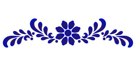 blue and white flower decorative element for design porcelain and ceramic, Beautiful floral pattern, vector illustration Ilustração