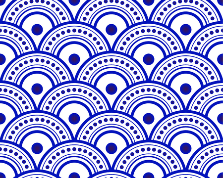 blue and white Japan and Chinese seamless pattern for design, porcelain, chinaware, ceramic, tile, ceiling, texture, wall, paper silk and fabric, vector illustration, simple indigo wave background Ilustração