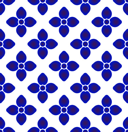 ceramic blue and white simple art decor, Chinaware design, blue flower pattern, porcelain background, vector illustration Illusztráció